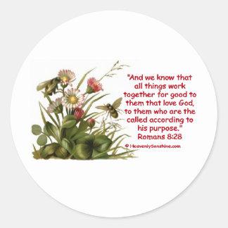 Romans 8:28 Bee Motif Round Sticker