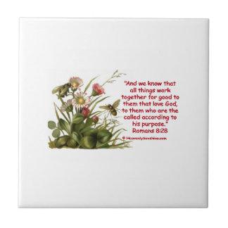 Romans 8:28 Bees Motif Tile