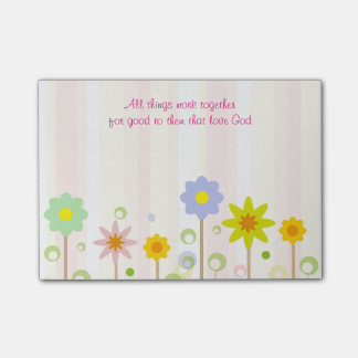 Romans 8:28 Pink Stripe and Flower Christian Quote Post-it Notes