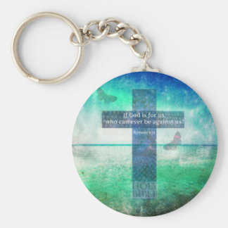 Romans 8:31 Inspirational Bible Verse Basic Round Button Key Ring