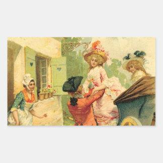 Romantic 18th Century Couple Carriage Sticker