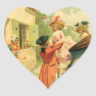Romantic 18th Century Couple n Carriage Heart Sticker