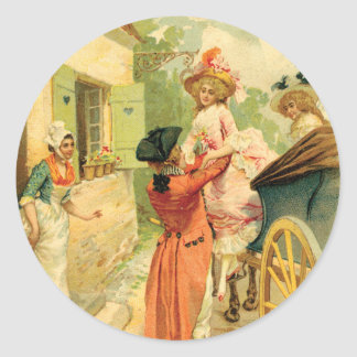 Romantic 18th Century Couple n Carriage Round Sticker