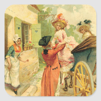 Romantic 18th Century Couple n Carriage Square Sticker