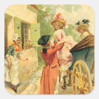 Romantic 18th Century Couple n Carriage Square Sticker