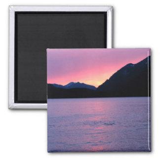 Romantic Alaskan Sunset Square Magnet