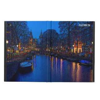 Romantic Amsterdam Canal At Night With Boats