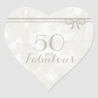 "Romantic and Elegant Gray ""50 and Fabulous"" Heart Sticker"