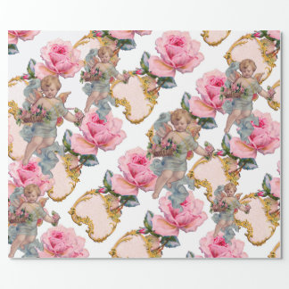 ROMANTIC ANGEL GATHERING PINK ROSES WRAPPING PAPER