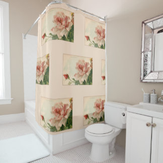Romantic Antique Pink Roses Shower Curtain