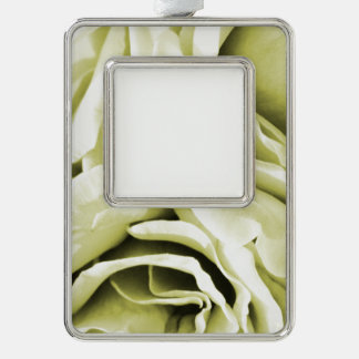 Romantic antique white velvet roses floral photo silver plated framed ornament