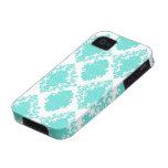 romantic aqua blue white damask design iPhone 4/4S case
