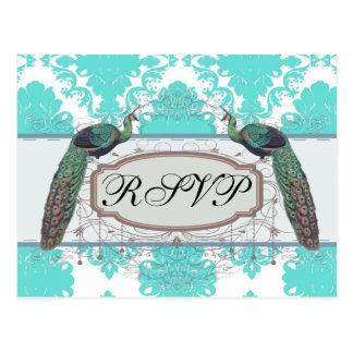 romantic aqua blue white damask design postcard