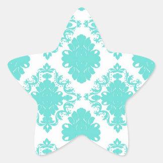 romantic aqua blue white damask design star sticker