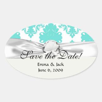 romantic aqua blue white damask design oval stickers