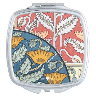 Romantic Art Deco Vintage Coral Yellow Aqua Floral Travel Mirror