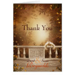 Romantic Autumn Leaves and Columns Thank You Note
