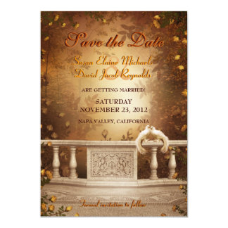 Romantic Autumn Leaves and Roses Save the Date 13 Cm X 18 Cm Invitation Card