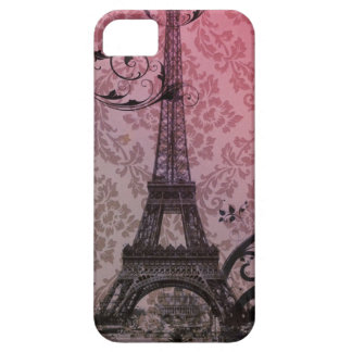 romantic autumn pink damask Paris Eiffel Tower iPhone 5 Cases