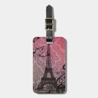 romantic autumn pink damask Paris Eiffel Tower Luggage Tag