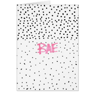 Romantic BAE typography black pink watercolor dots Greeting Card