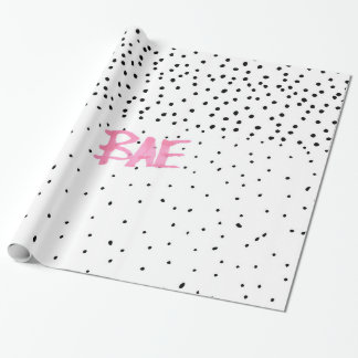 Romantic BAE typography black pink watercolor dots Wrapping Paper