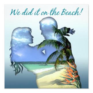Romantic Beach Couple Wedding Reception Card