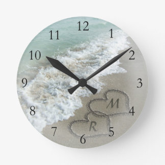 Romantic Beach Hearts Round Clock