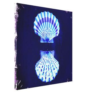 romantic beach  ocean blue vintage sea shells stretched canvas prints