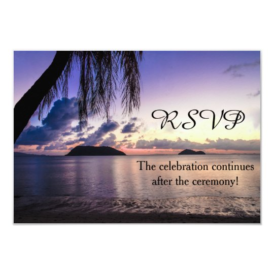 Romantic Beach Purple Sunset Wedding RSVP Card