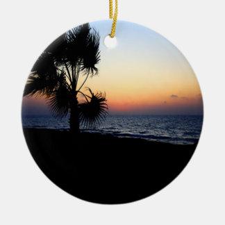 Romantic beach scene. christmas ornament