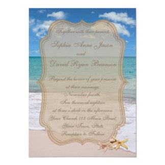 Romantic Beach Starfishes Wedding Invitation