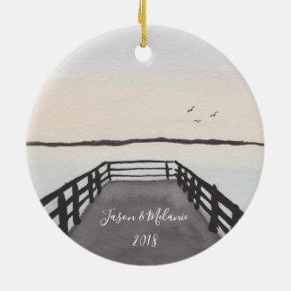 Romantic Beach Sunset Christmas Ornament