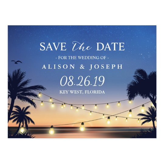 Romantic Beach Sunset String Lights Save the Date