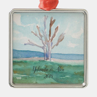 Romantic Beach Tree Watercolor Ornament