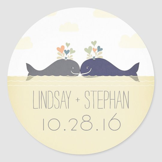 Romantic beach wedding stickers with whale couple