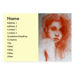 ROMANTIC BEAUTY / Woman Portrait in Sepia Brown Pack Of Chubby Business Cards