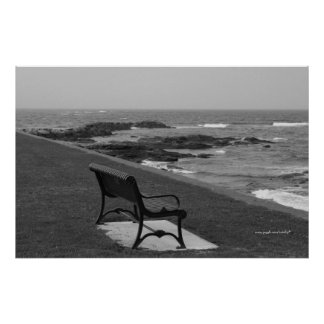 Romantic bench on ocean photography poster