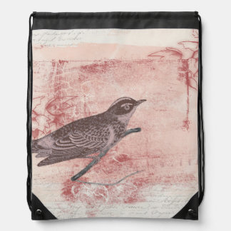 romantic bird drawing grunge artistic letter love drawstring backpack
