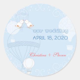 Romantic Birds on Hot Air Balloons Wedding Round Sticker