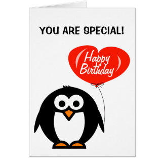 Romantic birthday card | penguin and heart balloon