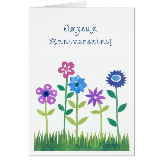 Romantic Birthday Card with French Greeting