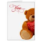 Romantic Birthday Teddy Bear - You Complete Me Card
