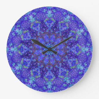 Romantic blue-colored mandala ornament arabesque large clock