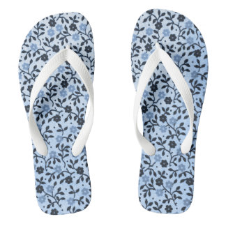 Romantic Blue Country Roses Flip Flops