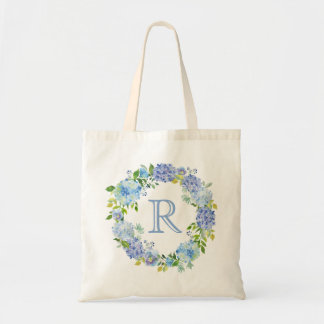 Romantic Blue Floral Monogram Tote Bag