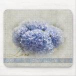 Romantic Blue Hydrangeas Mouse Pads
