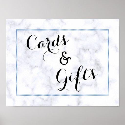 Romantic Blue Marble Wedding Poster