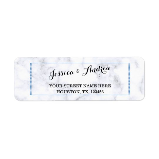 Romantic Blue Marble Wedding Return Address Label