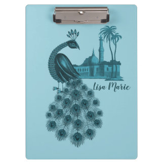 Romantic Blue Peacock Clipboard